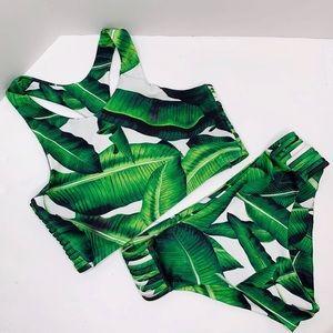Tropical Palm Leaf Tankini Crop Set Large